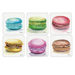 Pimpernel-Portmeirion-onderzetters-MACARONS-makaron-kunststof-kurk-set/6-Frans-koekje-dubbel-creme