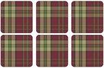 Onderzetters-Pimpernel-kunststof-kurk-set/6-tartan-red-schotse-ruit-rood-8792V