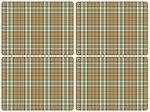 Placemats-Pimpernel-set/4-Tartan-green-Schotse-Ruit-beige-groen