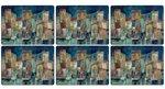 Pimpernel-placemats-Small-set/6-EVENING-PORT-haven-bij-avond-boten-huizen-melamine-kurk-30,5x23cm