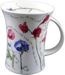 Dunoon-beker-mok-COTTAGE-lathyrus-richmond-Sweet Peas-bloemen-landelijk-blauw-rood-rose