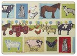 placemats-DOWN ON THE FARM-Boerderiji-dieren-tractor-pk4-Large-40x29cm