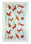 Ulster-Weavers-katoenen-theedoek-FORAGING FOX-bedrukt-vossen-bruin-bomen-groen-Tea towel