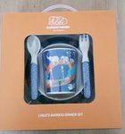 Dejeuner-Bamboo-Melamine-kinder-dinnerset-UNFORGETTABLE JOURNEY-Elephant Parade-blauw--5dlg-jongens-meisjes