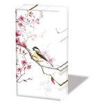 Papieren-zakdoekjes-handkerchief-tissue-BIRD & BLOSSOM-vogel-bloesem-wit-Ambiente