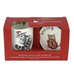 Royal-Worcester-Portmeirion-giftset-beker & onderzetter-mug & Coaster-JINGLE BELLE-Cat with Santa hat-Kerst-uitgave