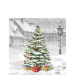 Ambiente-papieren-servetten-cocktail-TREE ON SQUARE-25x25cm-p/20-Kerstboom-plein-sneeuw