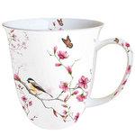 Ambiente-fine bone China-porselein-beker-mok-mug-large-BIRD & BLOSSOM-vogel-bloesem-tak-vlinder-400m
