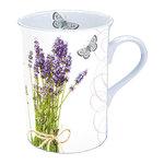 Ambiente-fine bone China-porselein-beker-mok-mug-Small-BUNCH OF LAVENDER-Lavendel-Lavande-vlinder-250m