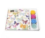 Paper+Design-Combibox-GOLDEN-BUTTERFLIES-papieren-servet-33x33cm-waxinelichtjes-kaarsjes-lunch-diner-Vlinders
