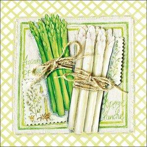 papieren-servetten-lunch-diner-ASPARAGUS-Asperges-wit-groen-bosje-Ambiente-33x33cm-13307655