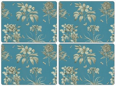 ETCHINGS & ROSES BLUE Placemats 40x30cm Large set/4 blauw
