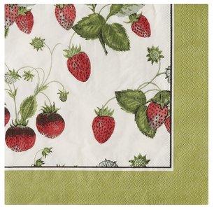 UW papieren servetten p/20 33x33cm RHS Strawberry Aardbeien