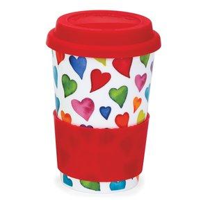 Travel mug reisbeker 0,44L WARM HEARTS gekleurde harten