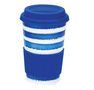 Travel mug reisbeker 0,44L HOOPLA! Blue streep blauw