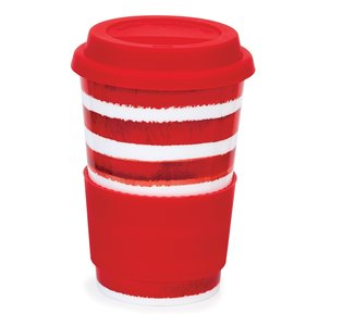 Travel mug reisbeker 0,44L HOOPLA! Red streep rood