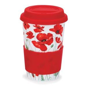 Travel mug reisbeker 0,44L POPPIES red