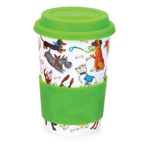 Travel mug reisbeker 0,44L DOGS GALORE Spelende honden