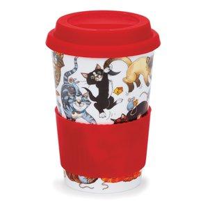 Travel mug reisbeker 0,44L PUSSY GALORE Spelende katten