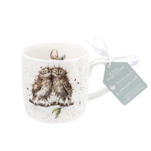 Royal Worcester beker mok BIRDS OF A FEATHER serie WRENDALE Uilen