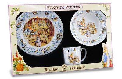 Dejeuner ontbijtset PETER RABBIT BP FRIENDS blue 3-dlg