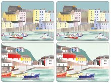Pimpernel-placemats-s/4-large-HARBOUR-haven-boat-boot-maritiem-aquarel-tinten-