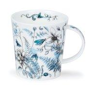 DUNOON-beker-mok-mug-Lomond-shape-HIDDEN_GARDEN-insecten-blauw-bloemen-planten-Varen-beestjes