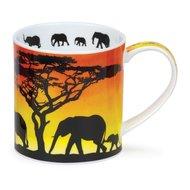 Dunoon-fbC-beker-mok-Orkney-SAVANNAH-Elephant-Afrikaanse-wilde-dieren-olifant-familie--design-Rebecca_Hogg-350ml