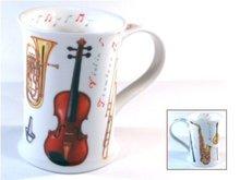 Dunoon-beker-mok-MUSICAL-muziekinstrumenten-viool-saxofoon-tuba-