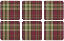Onderzetters-Pimpernel-kunststof-kurk-set/6-tartan-red-schotse-ruit-rood
