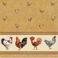 Papieren-servetten-Nouveau-chicken-farm-brown-kippen-bruin