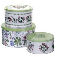 Pimpernel-Portmeirion-3piece-cake-tins-Botanic-Garden-voorraad-blikken-trommels