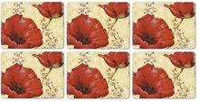 Pimpernel-placemats-small-s/6-klaprozen-poppy-Villeneuve-30,5x23cm