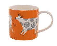 Ulster-Weavers-servies-fine-bone-China-mok-beker-CURIOUS-COWS-koeien-diverse-decors-oranje