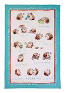 Ulster Weavers-linnen-theedoek-HEDGEHOGS-Egels-met tekst-rand-turquoise-Ann Edwards-48x75cm