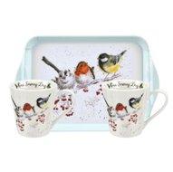 Portmeirion-WRENDALE-BIRDS-2bekers-tray-set-Winter-vogels-Kerst-Christmas