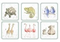 Pimpernel-Portmeirion-onderzetters-WRENDALE-Zoological-small-dierentuin-schildpad-olifant-flamingo-kunststof-kurk-set/6