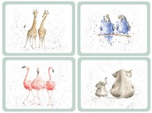 Pimpernel-placemats-Wrendale-Zoological-Dierentuin-giraf-olifant-parkiet-flamingo-by-Hannah Dale
