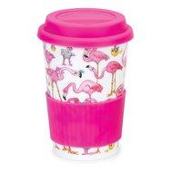 Dunoon-TRAVEL-MUG-beker-mok-FLAMBOYANCE-flamingo's-roze-regen-440ml