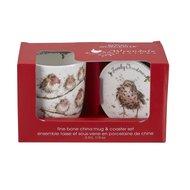 Royal-Worcester-Portmeirion-giftset-beker & onderzetter-mug & Coaster-FAMILY CHRISTMAS-Robins-Roodborstjes-Kerst-uitgav