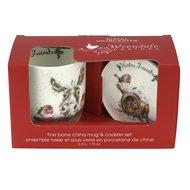 Royal-Worcester-Portmeirion-giftset-beker & onderzetter-mug & Coaster-WINTER-FRIENDS-ezel-roodborstjes-Kerst-uitgave-Wr