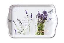 Ambiente-kunststof-dienblad-scatter-tray-small-BUNCH OF LAVENDER-bloemen-Lavendel-vlinders-13x21cm