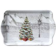 Ambiente-kunststof-dienblad--tray-small-Christmas-Xmas- TREE ON SQUARE-kerstboom-plein-sneeuw-winter-15x23cm