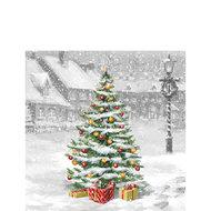 Ambiente-papieren-servetten-cocktail-TREE ON SQUARE-25x25cm-p/20-Kerstboom-plein-sneeuw