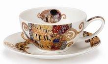 Dunoon-fbC-wide-cup & saucer-kop & schotel-BELLE EPOQUE-The Kiss-22 karaats-goud-accenten-