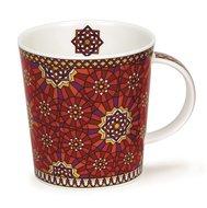 DUNOON-Lomond-ZAHRA-Knot-knoop-geometrisch-beker-mug-rood-red-goud-0,32ltr-9,3cm-bovenzijde Ø 9cm
