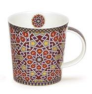 DUNOON-Lomond-ZAHRA-Star-ster-geometrisch-beker-mug-rood-red-blue-goud-gold-0,32ltr-9,3cm-bovenzijde Ø 9cm