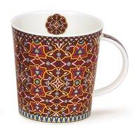 DUNOON-Lomond-ZAHRA-flower-bloem-geometrisch-beker-mug-rood-red-aubergine-goud-gold-0,32ltr-9,3cm-bovenzijde Ø 9cm