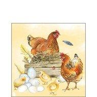 papieren-servetten-Ambiente-cocktail-BREEDING-CHICKEN-broeden-bruin-kip-nest-kuiken-eieren-