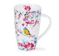 DUNOON-XL-mug-beker-Tasse-fbC-Henley-600ml-BIRDSONG-Blue_Tit-Pimpelmees-Yellow-bird-design-Harrison_Ripley-
